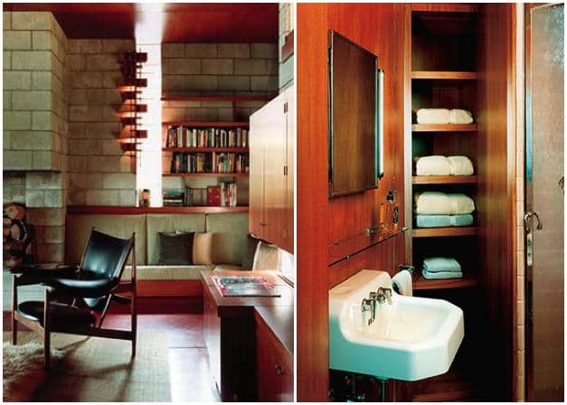 frank lloyd wright - marden house - living room - bathroom