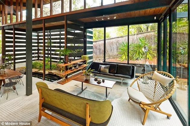 australian modernism Gerry Rippon - Wahroonga house - living room