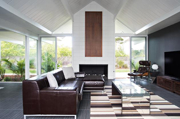 Eichler home remodel - Double Gable - klopf architecture - living room