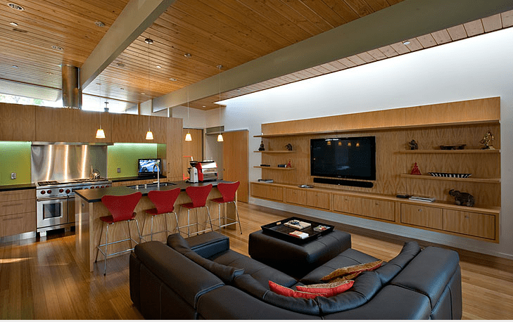 eichler home renovation guy ayers architects - living room