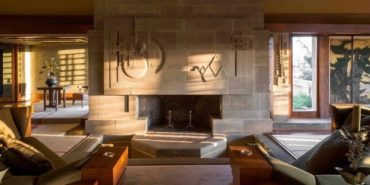 Frank Lloyd Wright Hollyhock House interior fireplace