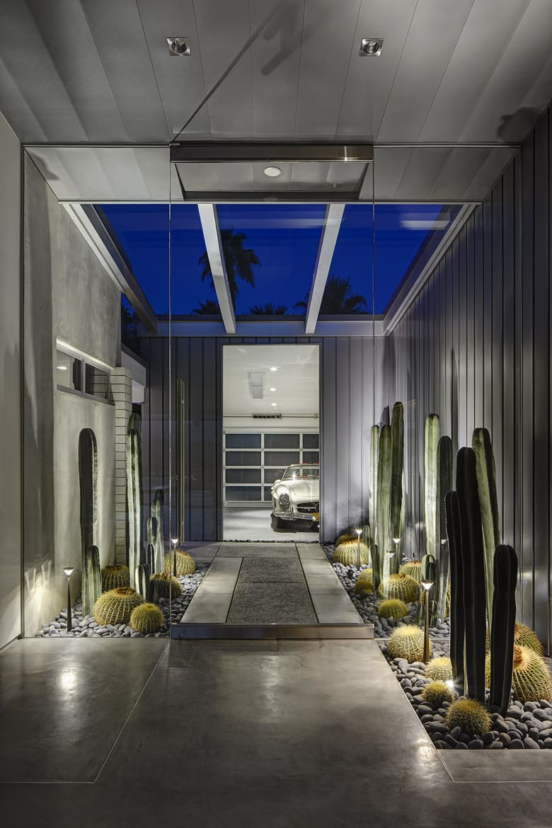 Michael Johnston renovation E. Stewart Williams House palm springs porch night
