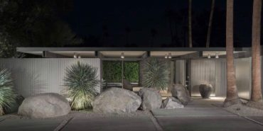 donald wexler house in palm springs front night