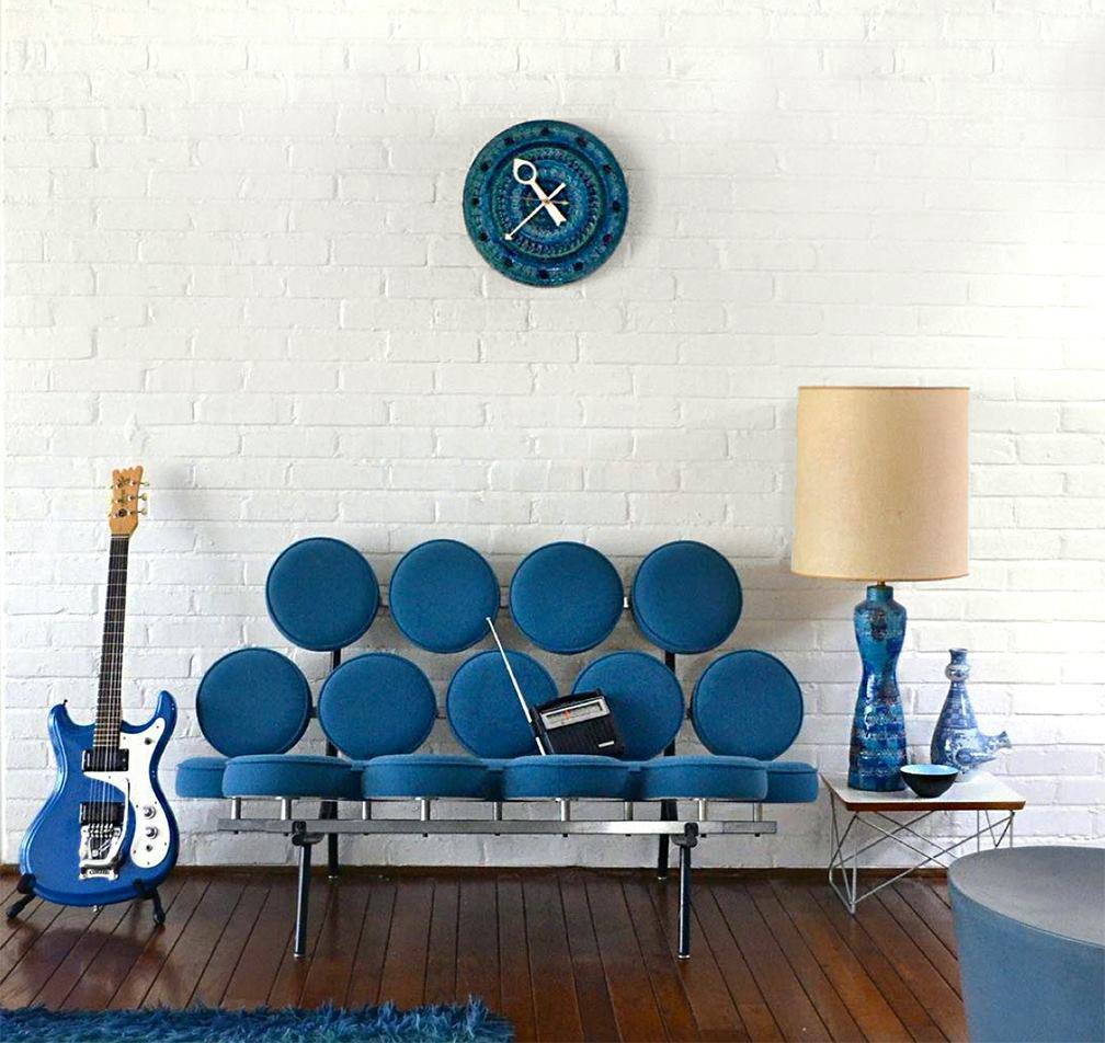 george nelson marshmallow sofa turquoise