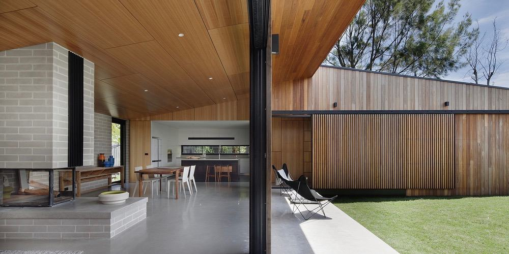 modern house - Hover House - Bower Architecture outside living room