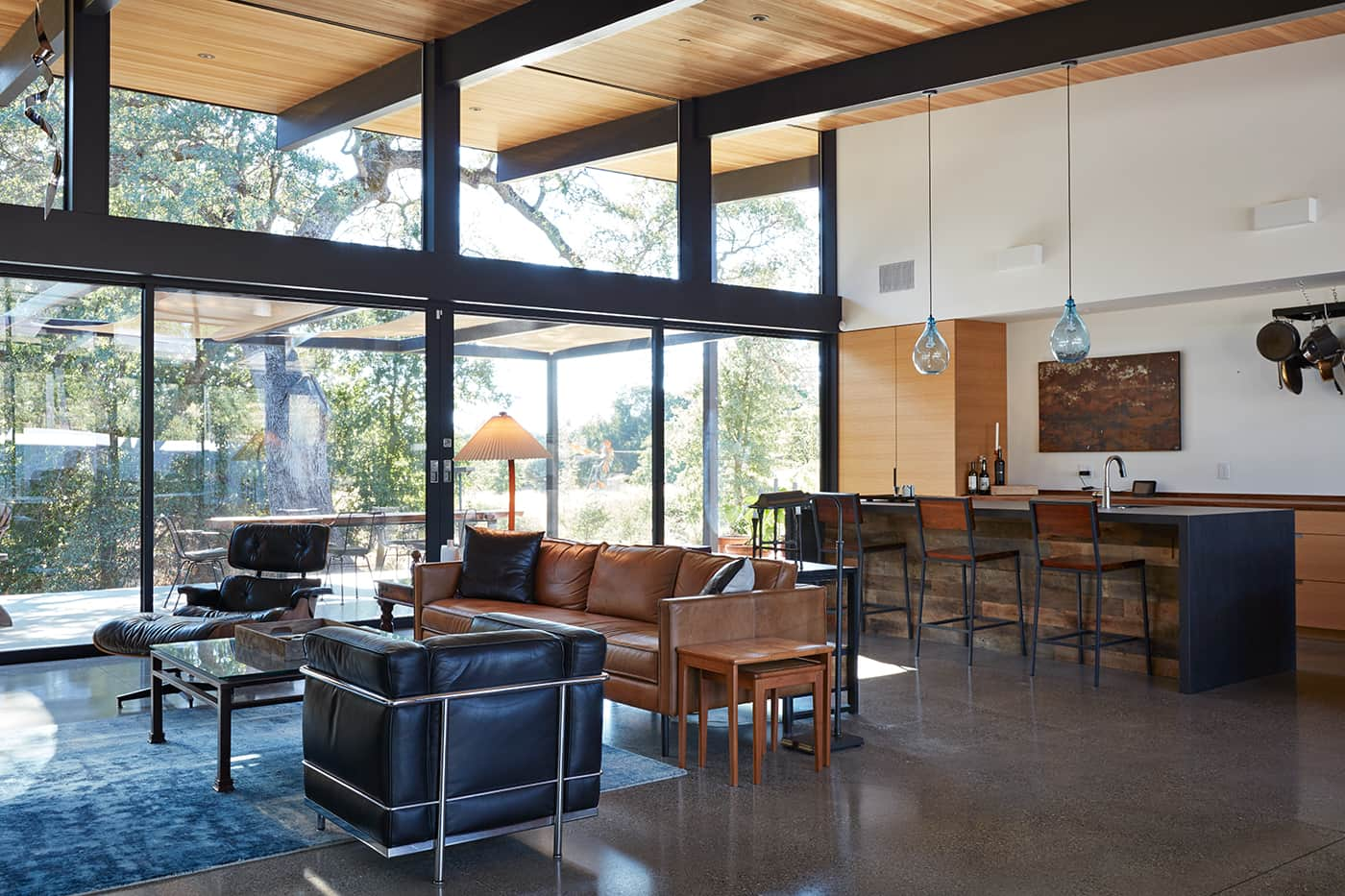 mid-century house renovation by Klopf architects in Sacramento - living room