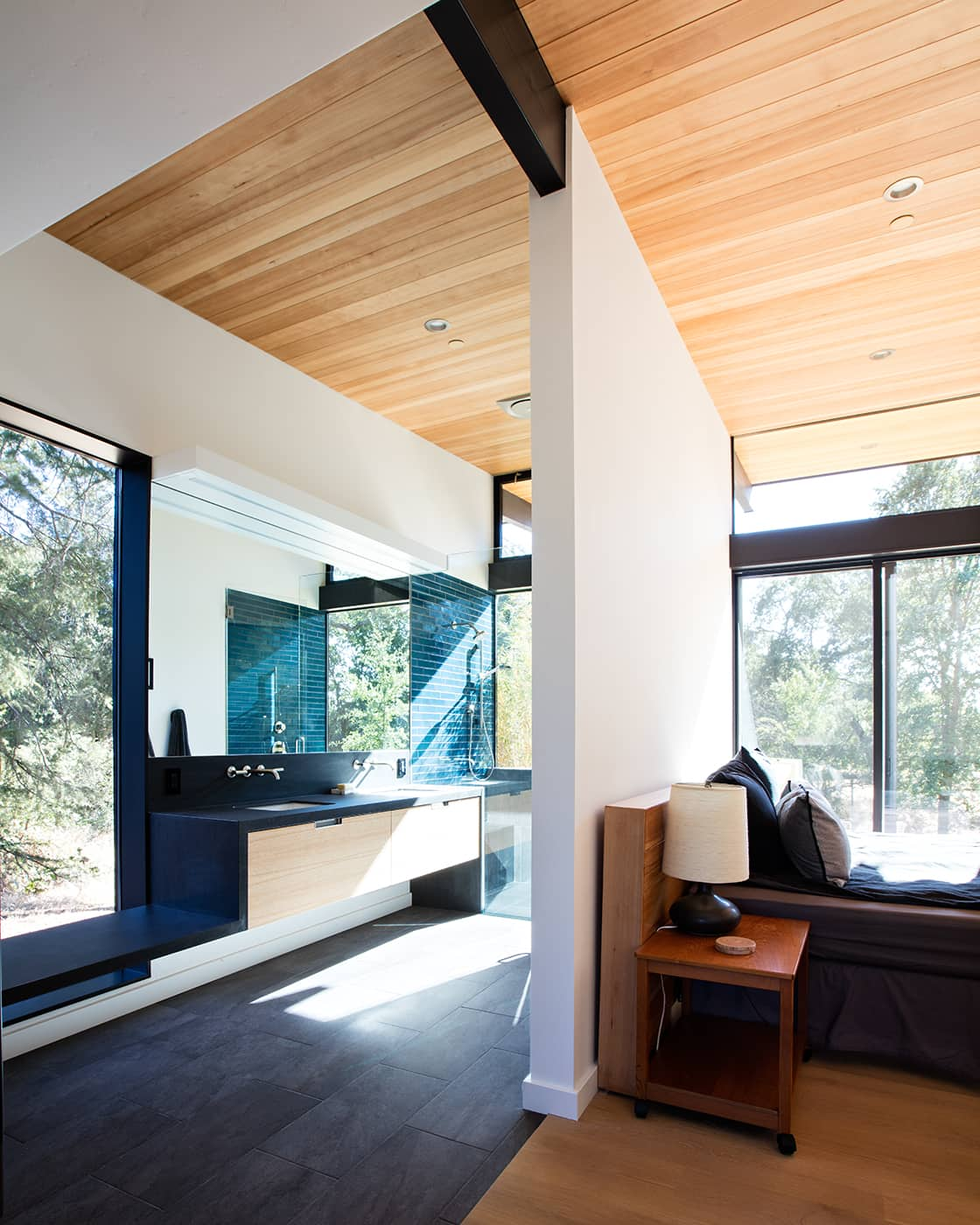 mid-century house renovation by Klopf architects in Sacramento - bedroom