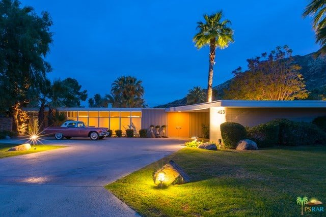 mid-century palm springs house rick harrison - exterior night