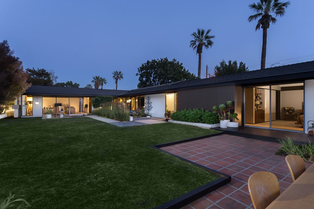 mid-century ranch style house california - exterior night
