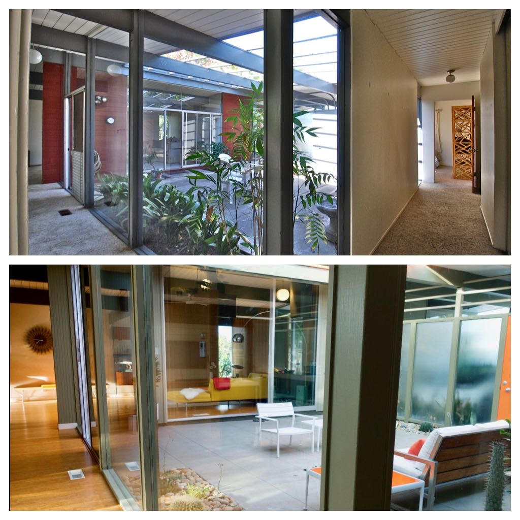 Eichler Home renovation - before/after - atrium