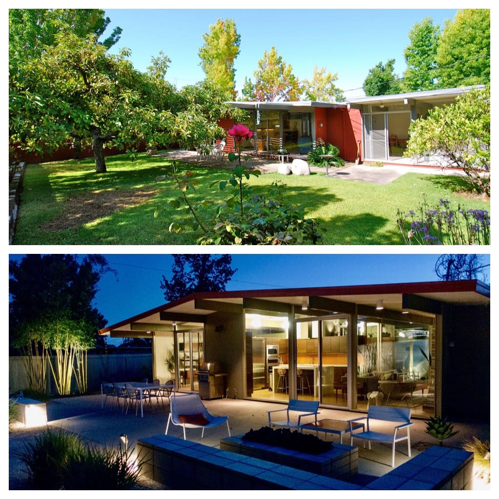 Eichler Home renovation - before/after - backyard