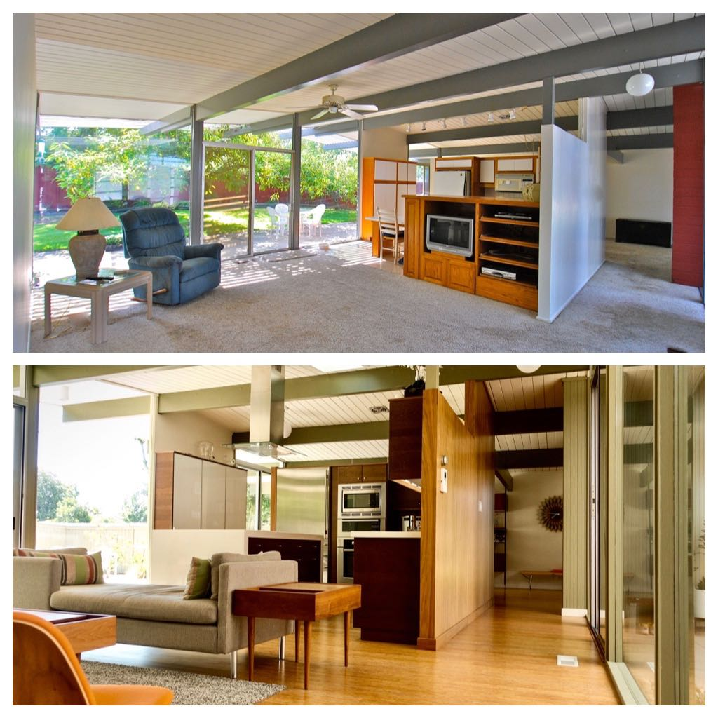 Eichler Home renovation - before/after - living