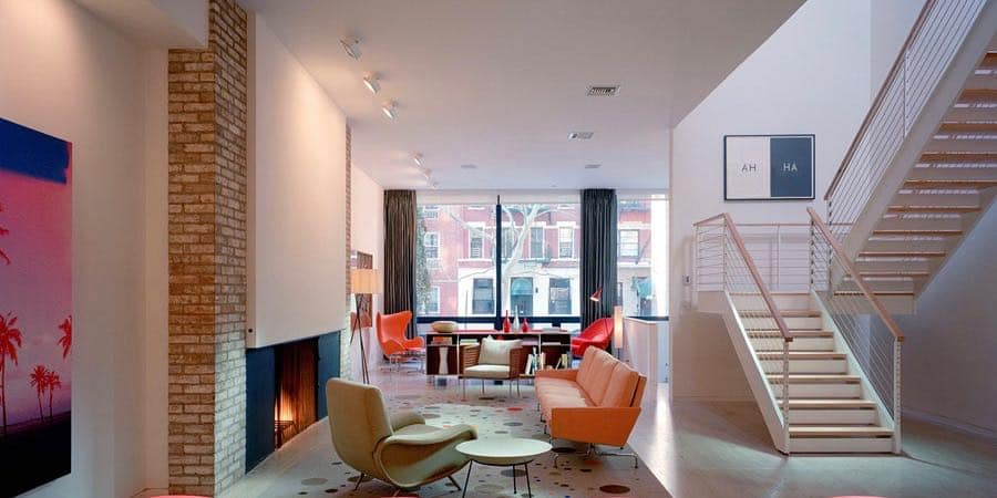 New York modernist Townhouse by Alexander Gorlin - living room