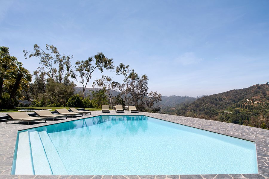 mid-century inspired Benedict Canyon house - pool