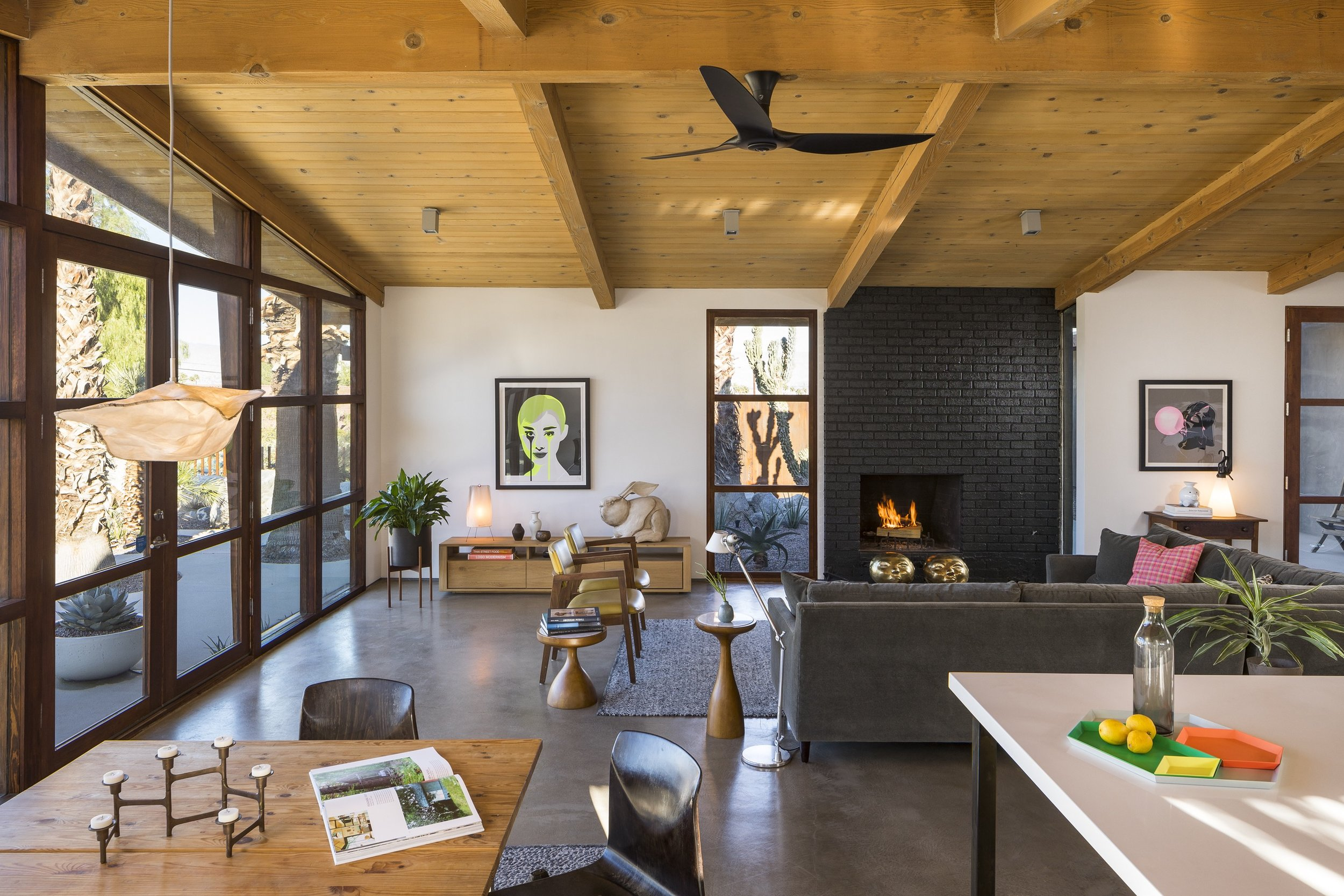 cliff may ranch style mid-century in palm springs - living room