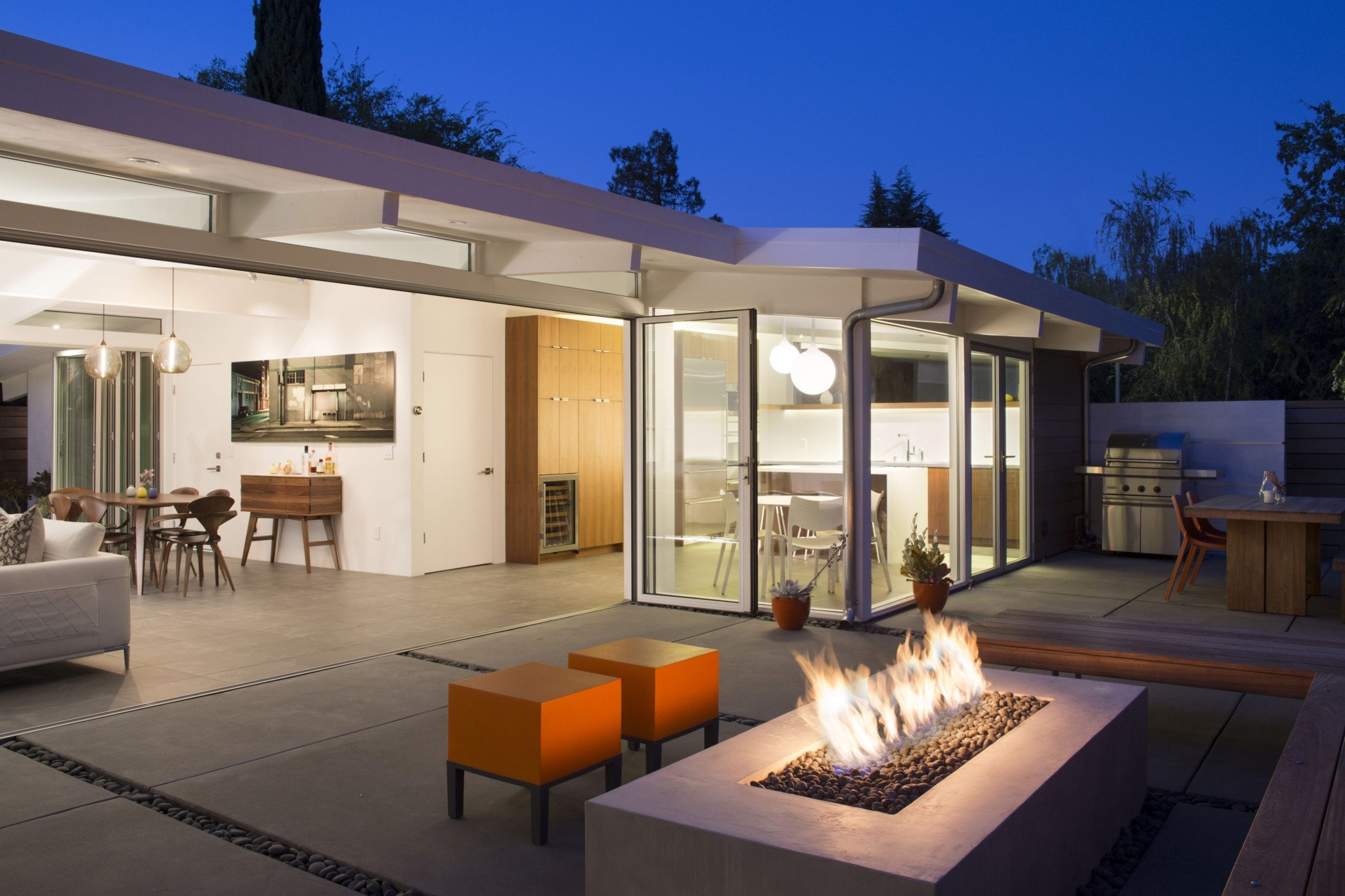 Klopf - Open Eichler House - Palo Alto, CA - back yard night
