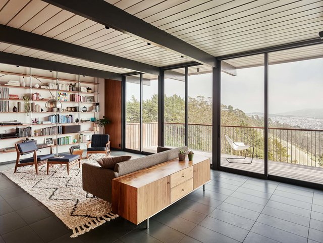 Eichler house renovatiom - Michael Hennessey - living room