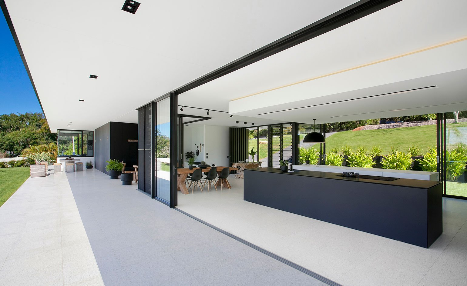 Contemporary house - architect Sarah Waller's Doonan Glass House - kitchen view from outside