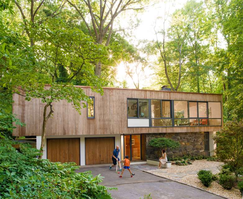 Mid-century house renovation - front facade