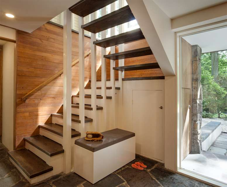 Mid-century house renovation - moser architects - entrance staircase