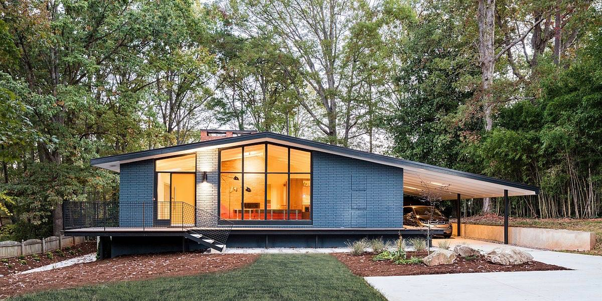 This renovated mid century house features a stunning for Exterior features of a house