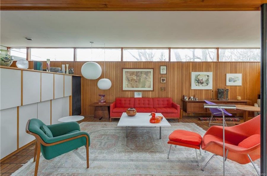Mid Century House By Robert Metcalf In Michigan   Living Room ...