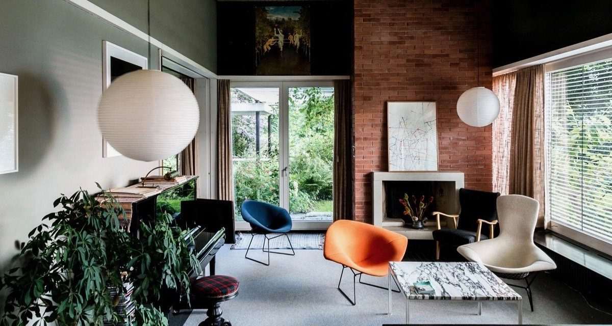 mid-century house by Leo Hafner - Lake Zug, Switzerland - living room