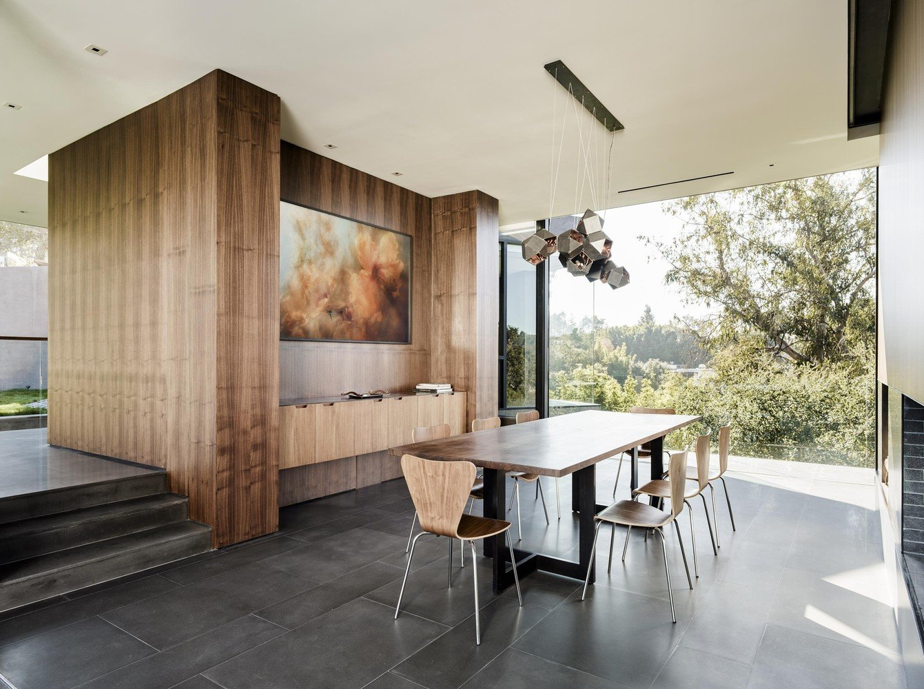 contemporary modernist house Oak Pass Main House - dining area