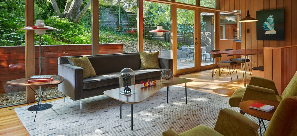 mid-century house in oxford - koch architects - living room