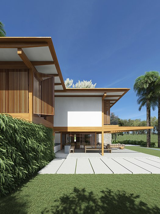 André Luque Arquitetura - modernist inspired vineyard house - exterior side view