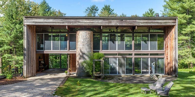 mid-century house in Falls Village, CT - exterior front