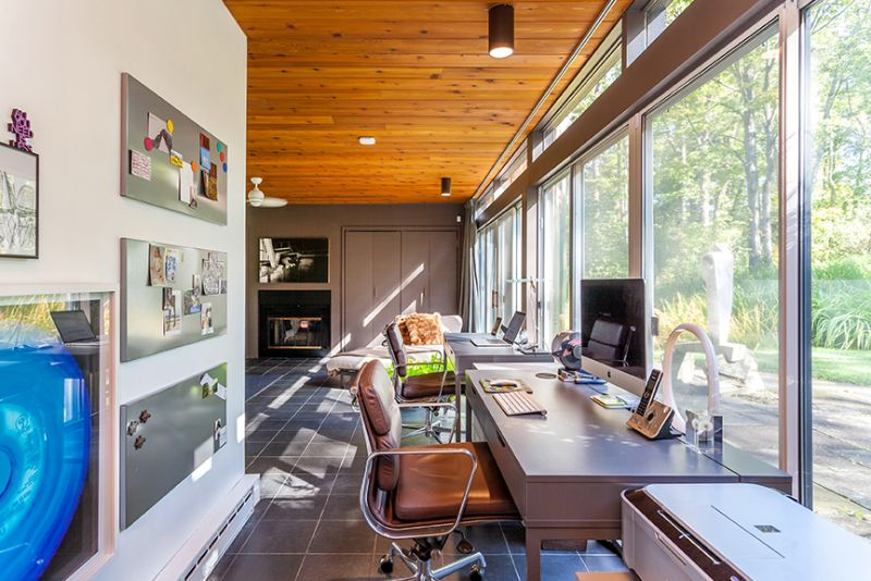 mid-century house in Falls Village, CT - office