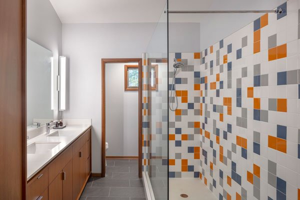 Mid century in kansas city - master bathroom