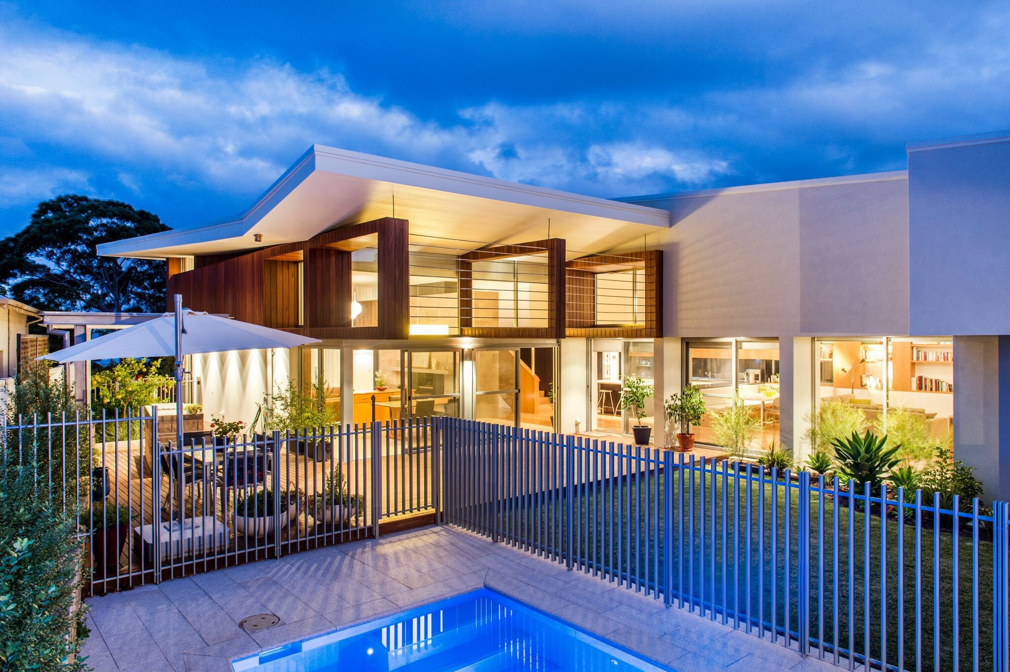Modern home - moreing rd - mountford architects - pool view night
