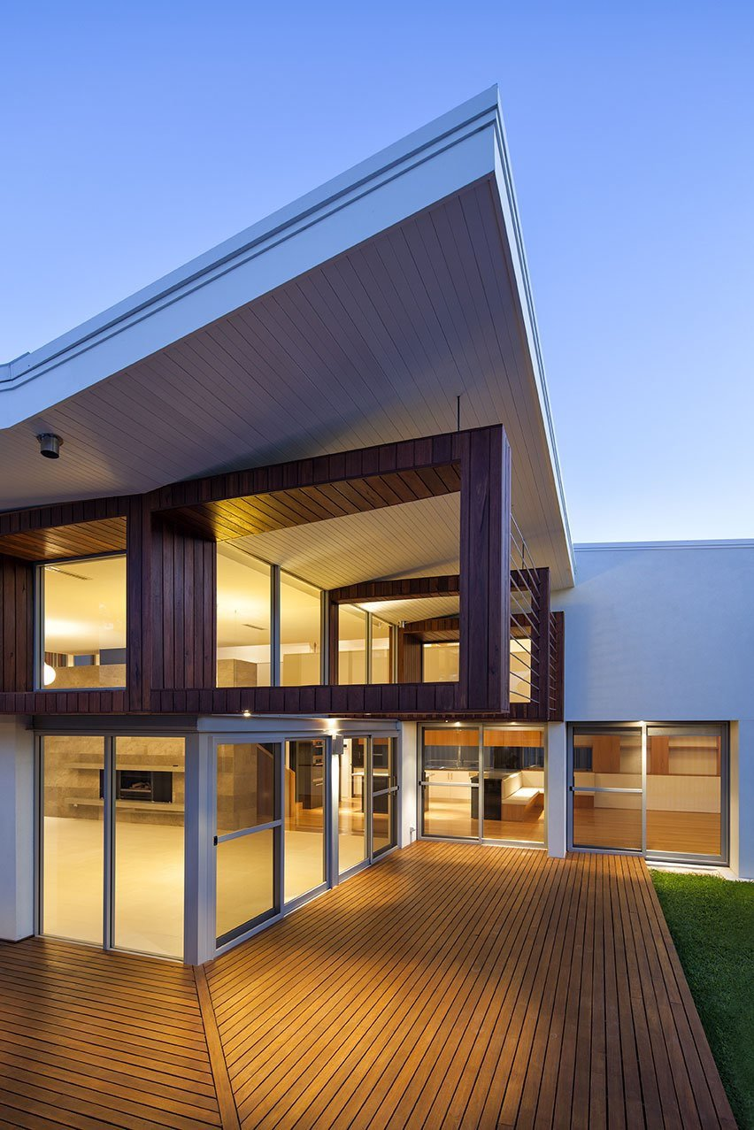 Modern home - moreing rd - mountford architects - exterio night