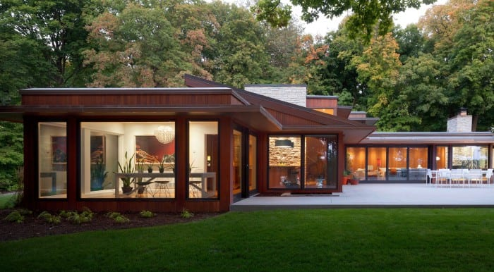 Midcentury modern home renovation in Minnesota -  exterior