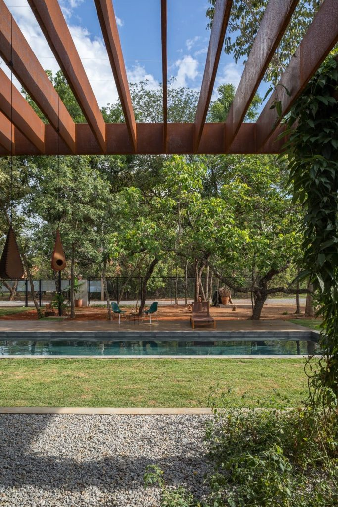Modernist family home brazil -  pool view