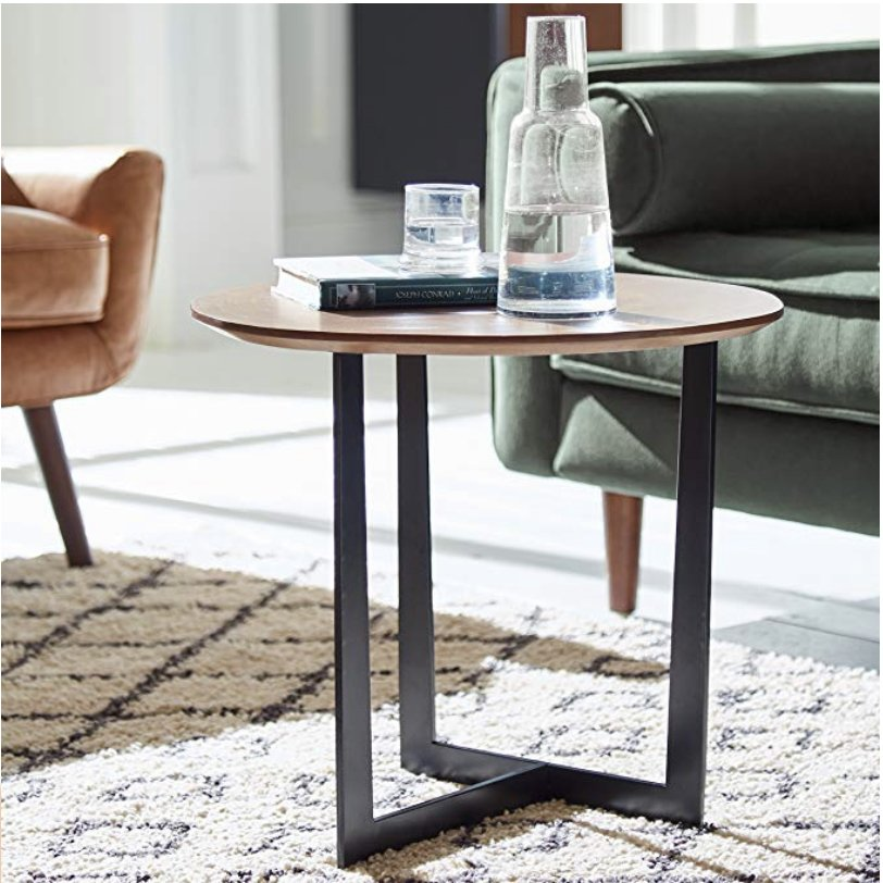 Rivet Bristol Natural Edge Black Metal Side Table, Walnut