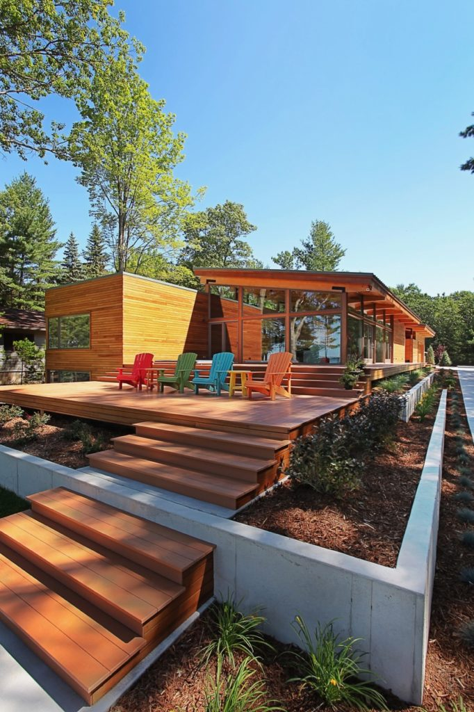 midcentury inspired lake house in Michigan - exterior front