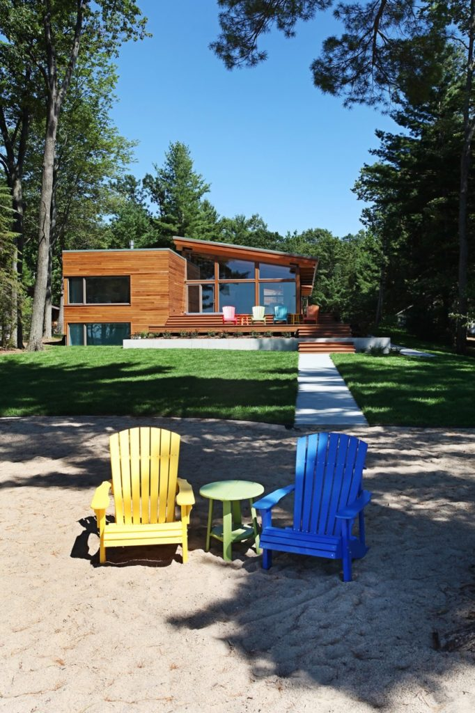 midcentury inspired lake house in Michigan - exterior