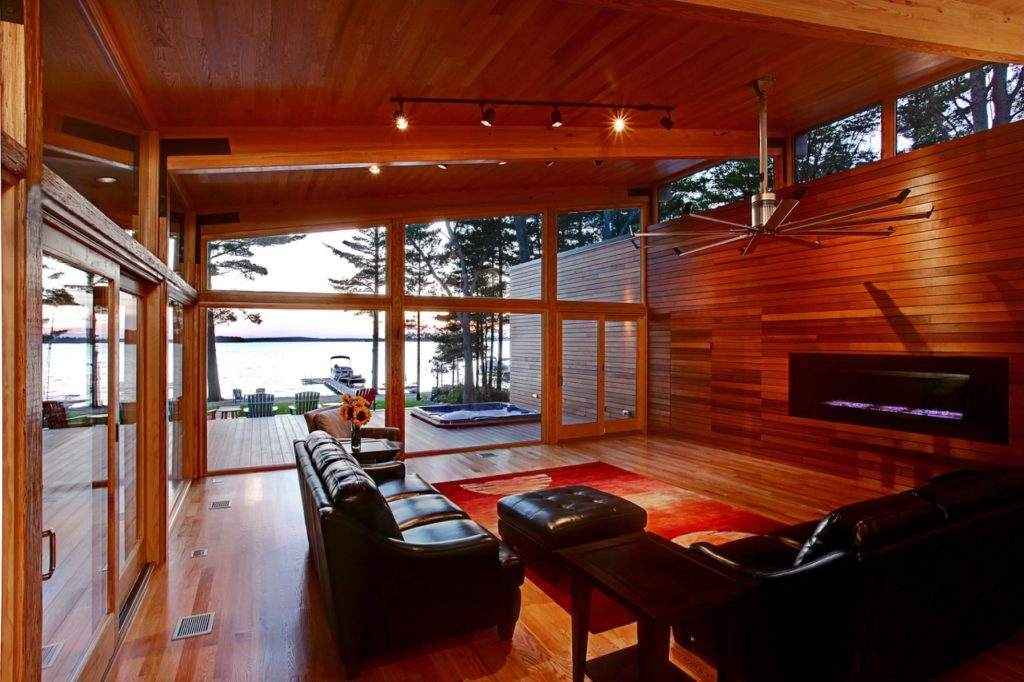 midcentury inspired lake house in Michigan - living room