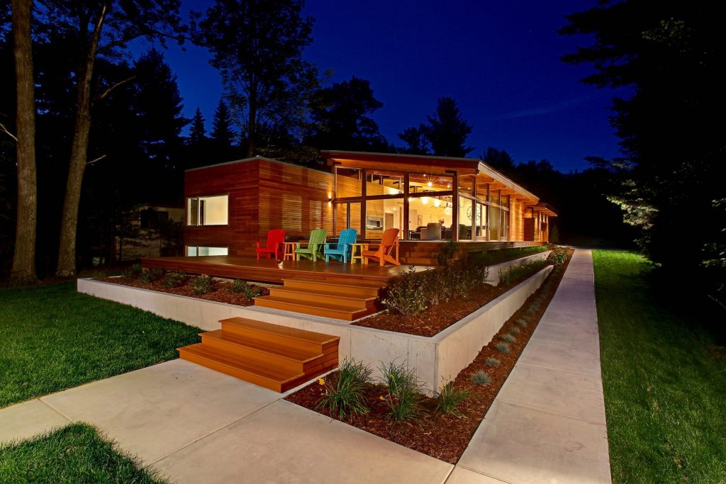 midcentury inspired lake house in Michigan - exterior night