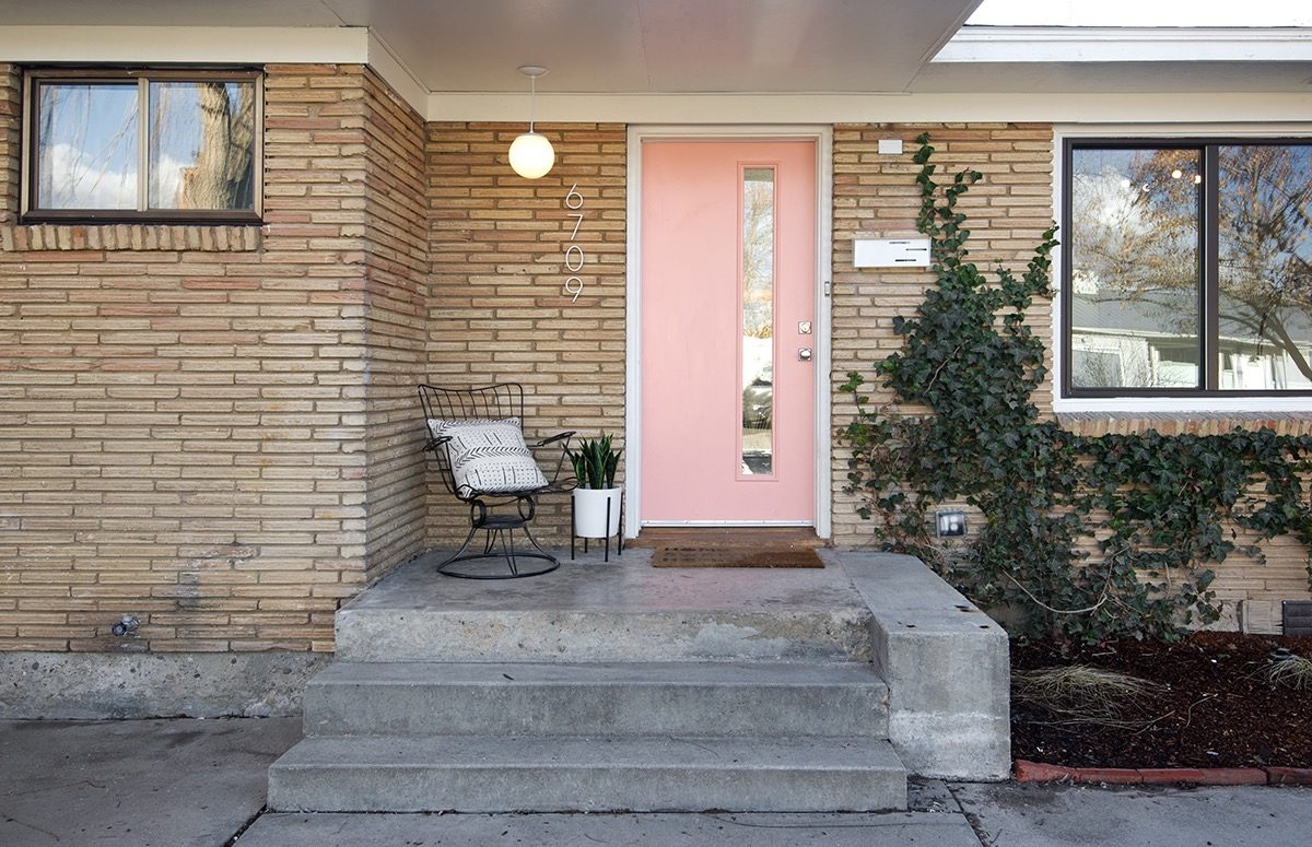 midcentury house renovation in Boise, idaho - front door