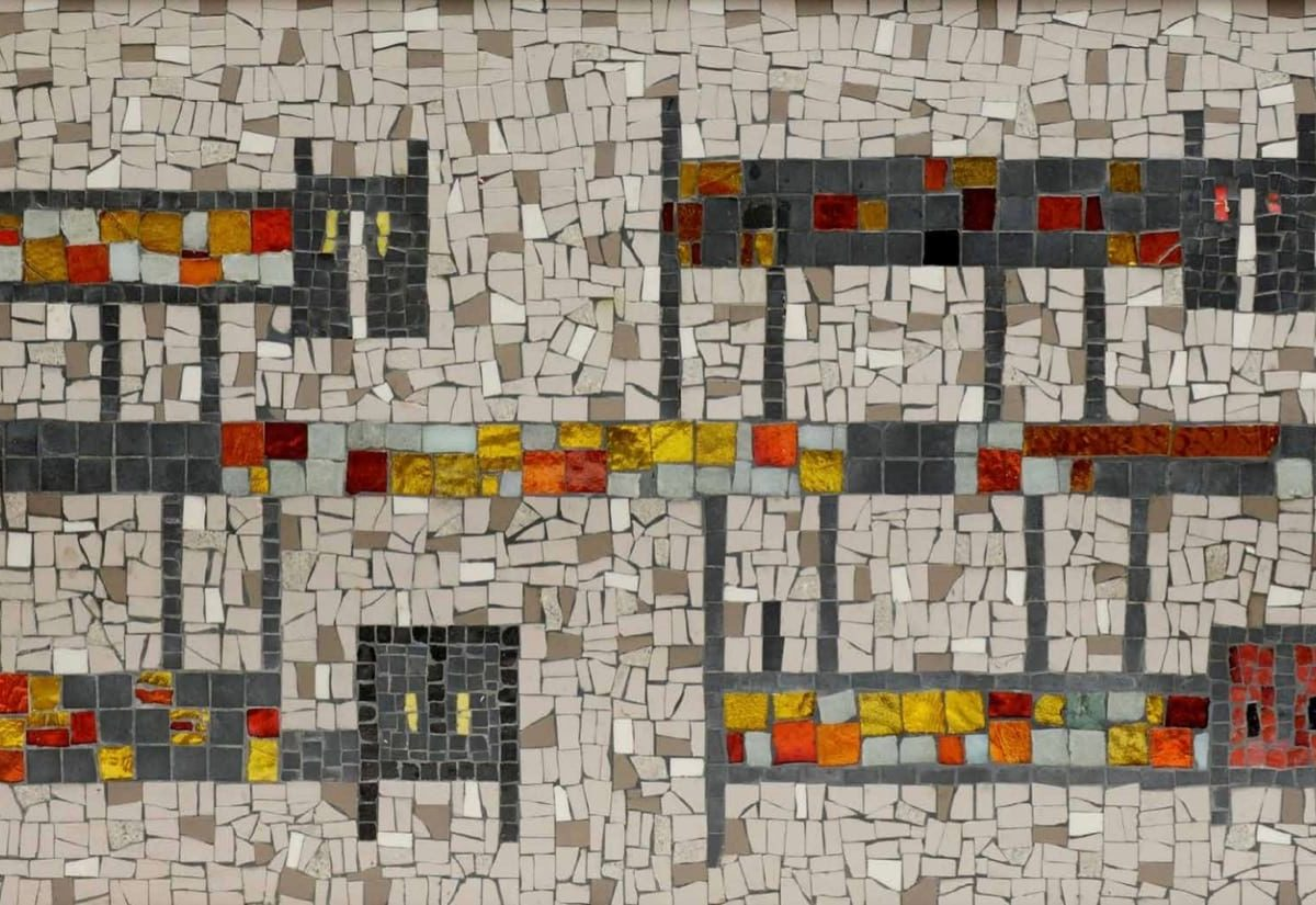 Midcentury mosaic table designed by the Ackermans