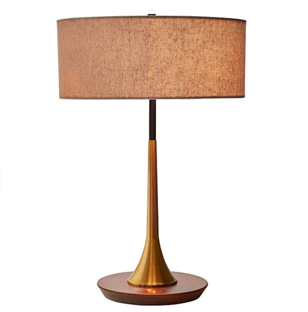 """Rivet Mid-Century Curved Brass Table Lamp, 21.7""""H, Brass and Walnut"""