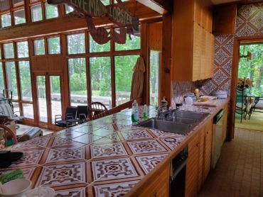 Countertop tiles midcentury kitchen